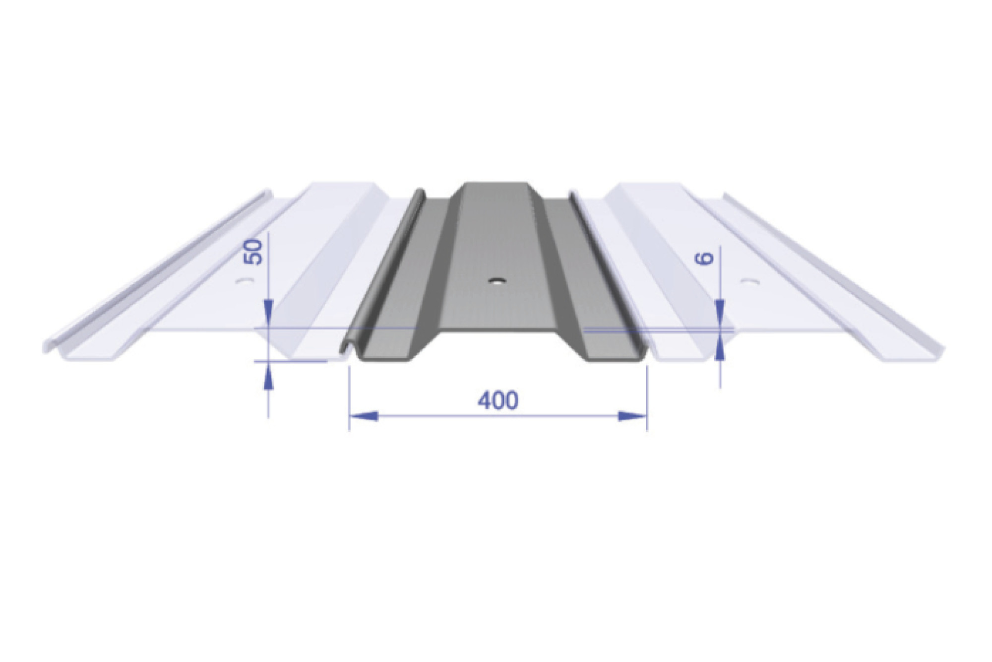 Lapped Trench Sheet - FKD 400/6 400mm Wide