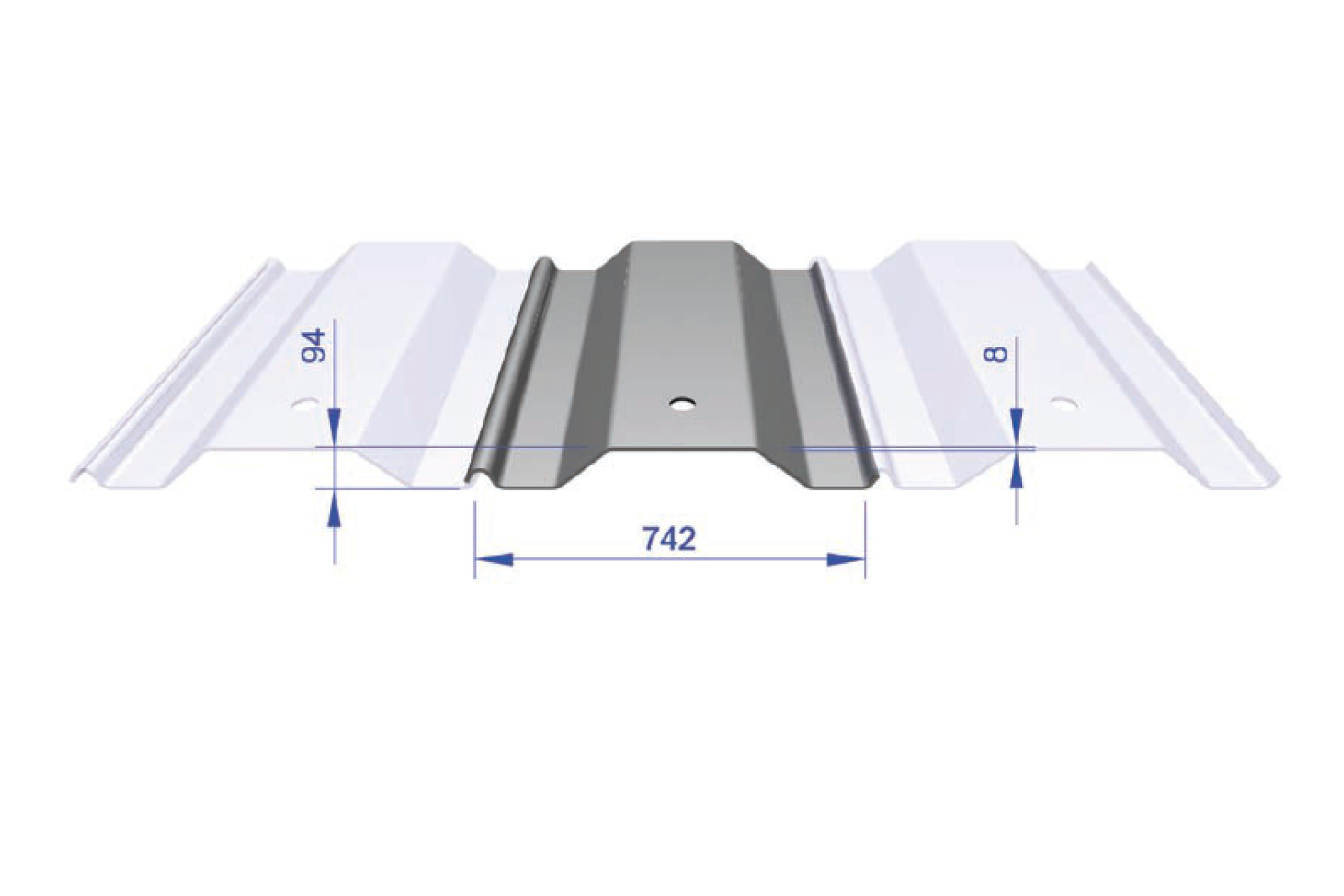 Lapped Trench Sheet - ER 750/8 742mm Wide