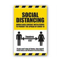 Social Distancing Instruction Label (Self Adhesive Vinyl)