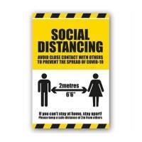 Social Distancing Instruction Label (Self Adhesive Vinyl)